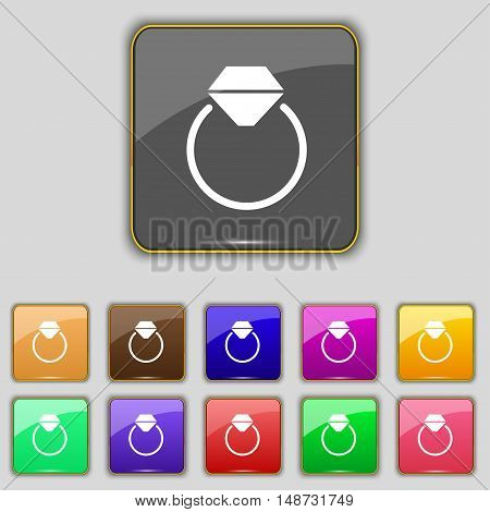 Diamond Engagement Ring Icon Sign. Set With Eleven Colored Buttons For Your Site. Vector