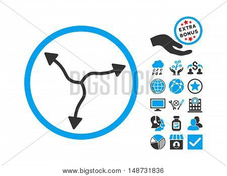 Curve Arrows pictograph with bonus pictograph collection. Vector illustration style is flat iconic bicolor symbols, blue and gray colors, white background.