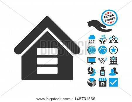Data Center Building icon with bonus symbols. Vector illustration style is flat iconic bicolor symbols, blue and gray colors, white background.