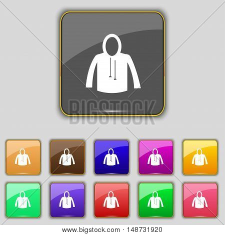 Casual Jacket Icon Sign. Set With Eleven Colored Buttons For Your Site. Vector
