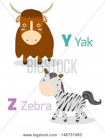Cute alphabet with funny animals from Y Z Illustration of alphabet with animals Y Z ,yak, zebra, Funny cartoon animals on white background, Vector Illustration. viper,love to read