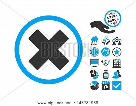 Delete X-Cross pictograph with bonus design elements. Vector illustration style is flat iconic bicolor symbols, blue and gray colors, white background.