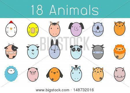 Vector illustration of cute animal set , Funny 18 Animal Vector illustration Icon Set, cute cartoon animals,animals set icon, Vector Illustration