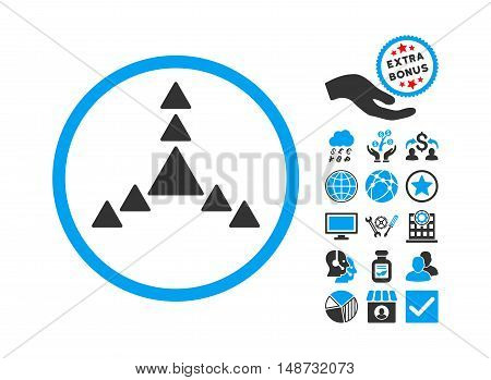 Direction Triangles icon with bonus elements. Vector illustration style is flat iconic bicolor symbols, blue and gray colors, white background.