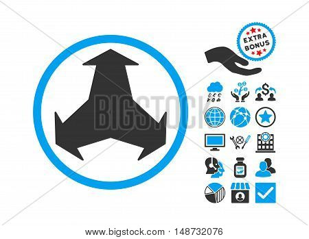 Directions pictograph with bonus design elements. Vector illustration style is flat iconic bicolor symbols, blue and gray colors, white background.