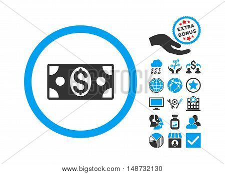 Dollar Banknote pictograph with bonus elements. Vector illustration style is flat iconic bicolor symbols, blue and gray colors, white background.