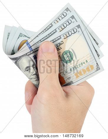 A man gives money. Hand holds three hundred dollars isolated on white background.