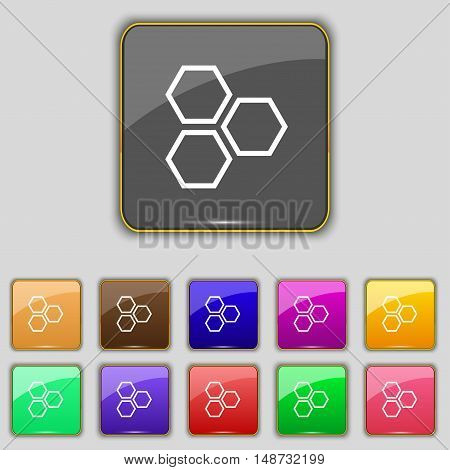 Honeycomb Icon Sign. Set With Eleven Colored Buttons For Your Site. Vector