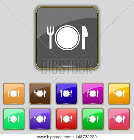 Plate Icon Sign. Set With Eleven Colored Buttons For Your Site. Vector