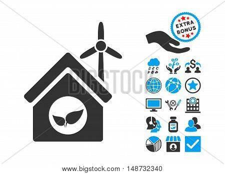 Eco House Building pictograph with bonus pictograph collection. Vector illustration style is flat iconic bicolor symbols, blue and gray colors, white background.