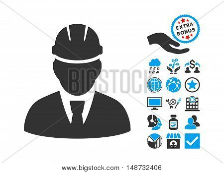 Engineer pictograph with bonus symbols. Vector illustration style is flat iconic bicolor symbols, blue and gray colors, white background.