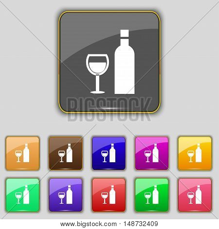 Wine Icon Sign. Set With Eleven Colored Buttons For Your Site. Vector