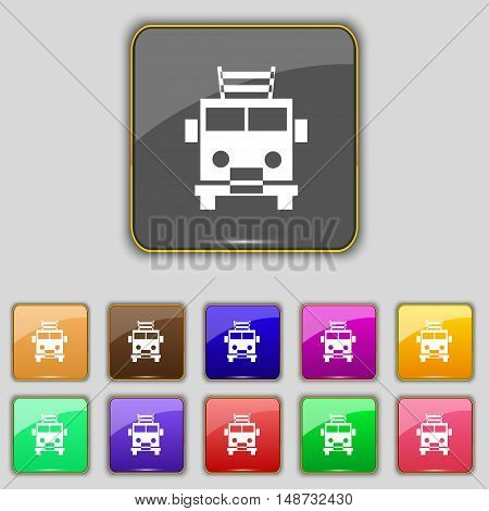 Fire Engine Icon Sign. Set With Eleven Colored Buttons For Your Site. Vector