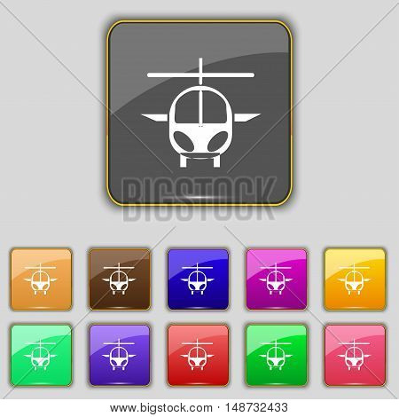 Helicopter Icon Sign. Set With Eleven Colored Buttons For Your Site. Vector