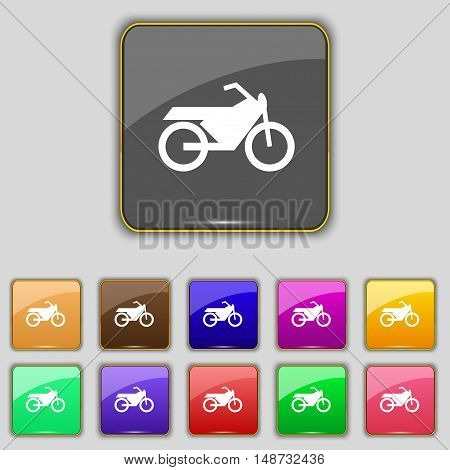 Motorbike Icon Sign. Set With Eleven Colored Buttons For Your Site. Vector