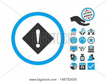 Error icon with bonus images. Vector illustration style is flat iconic bicolor symbols, blue and gray colors, white background.