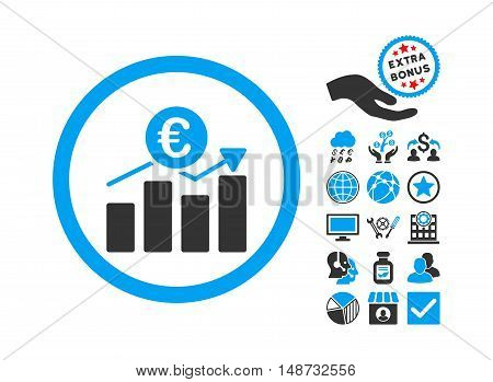 Euro Business Chart pictograph with bonus pictures. Vector illustration style is flat iconic bicolor symbols, blue and gray colors, white background.