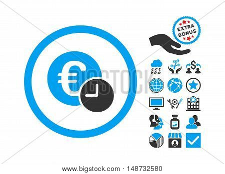 Euro Credit pictograph with bonus design elements. Vector illustration style is flat iconic bicolor symbols, blue and gray colors, white background.