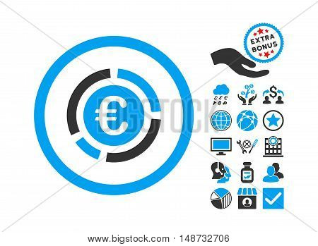 Euro Financial Diagram icon with bonus icon set. Vector illustration style is flat iconic bicolor symbols, blue and gray colors, white background.