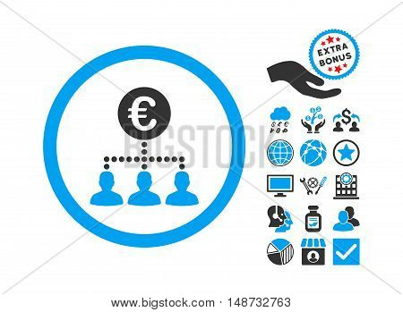 Euro Payment Clients icon with bonus pictogram. Vector illustration style is flat iconic bicolor symbols, blue and gray colors, white background.