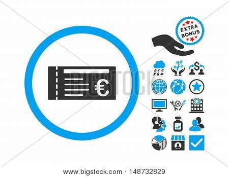Euro Ticket icon with bonus elements. Vector illustration style is flat iconic bicolor symbols, blue and gray colors, white background.