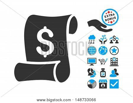 Financial Receipt Roll pictograph with bonus elements. Vector illustration style is flat iconic bicolor symbols, blue and gray colors, white background.