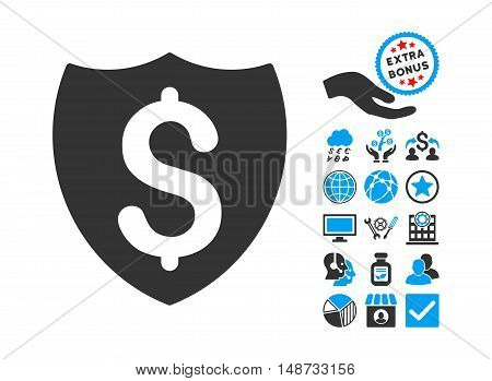 Financial Shield icon with bonus images. Vector illustration style is flat iconic bicolor symbols, blue and gray colors, white background.