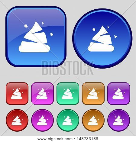 Poo Icon Sign. A Set Of Twelve Vintage Buttons For Your Design. Vector