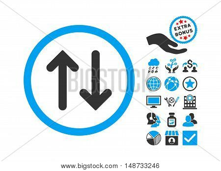 Flip pictograph with bonus pictograph collection. Vector illustration style is flat iconic bicolor symbols, blue and gray colors, white background.