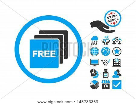 Free pictograph with bonus pictures. Vector illustration style is flat iconic bicolor symbols, blue and gray colors, white background.