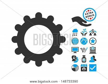 Gear icon with bonus pictograph collection. Vector illustration style is flat iconic bicolor symbols, blue and gray colors, white background.