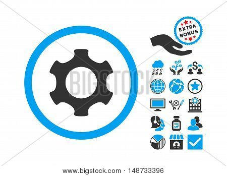 Gear pictograph with bonus clip art. Vector illustration style is flat iconic bicolor symbols, blue and gray colors, white background.