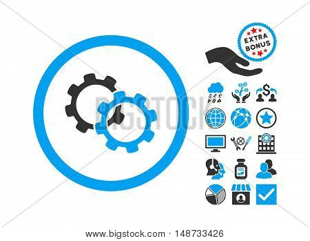 Gears pictograph with bonus clip art. Vector illustration style is flat iconic bicolor symbols, blue and gray colors, white background.