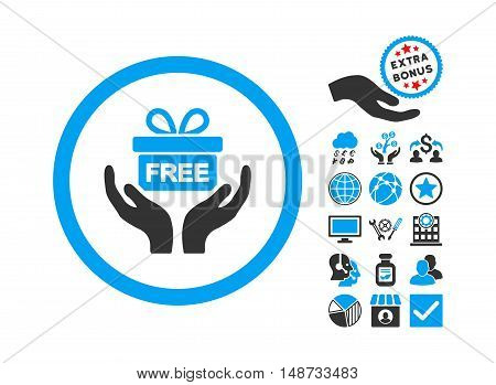 Give Present pictograph with bonus design elements. Vector illustration style is flat iconic bicolor symbols, blue and gray colors, white background.