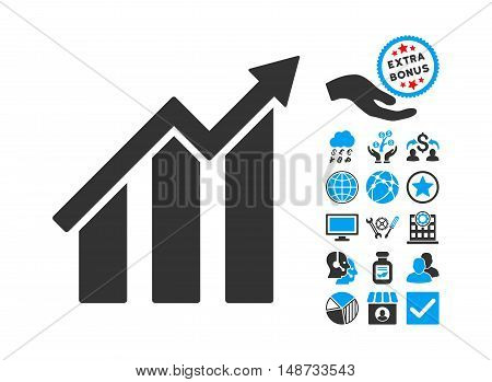 Growth Chart pictograph with bonus images. Vector illustration style is flat iconic bicolor symbols, blue and gray colors, white background.