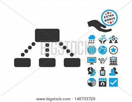 Hierarchy icon with bonus elements. Vector illustration style is flat iconic bicolor symbols, blue and gray colors, white background.
