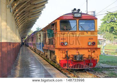 CHIANGMAI THAILAND -JANUARY 16 2013: Alsthom Diesel locomotive no 4211. For train no 14 from chiangmai to bangkok. Photo at Chiangmai railway station.