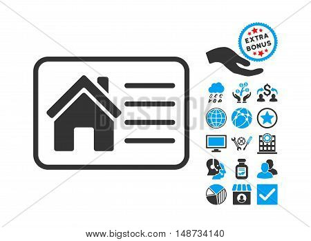 House Info Card icon with bonus pictograph collection. Vector illustration style is flat iconic bicolor symbols, blue and gray colors, white background.