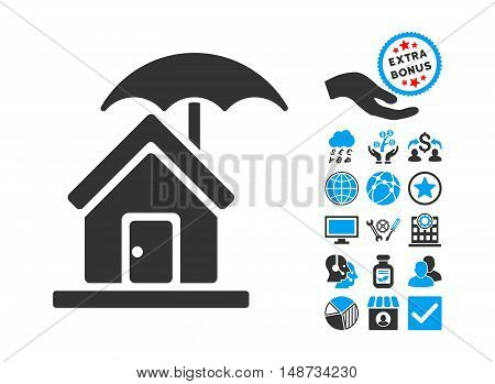 House under Umbrella icon with bonus symbols. Vector illustration style is flat iconic bicolor symbols, blue and gray colors, white background.