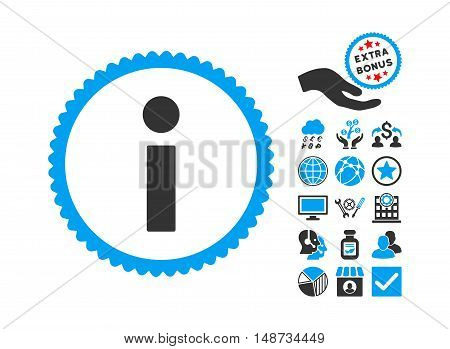 Info pictograph with bonus design elements. Vector illustration style is flat iconic bicolor symbols, blue and gray colors, white background.