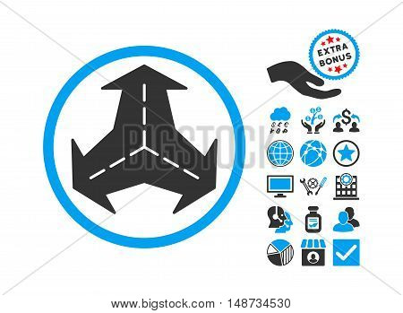 Intersection Directions pictograph with bonus symbols. Vector illustration style is flat iconic bicolor symbols, blue and gray colors, white background.
