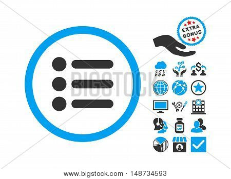 Items icon with bonus design elements. Vector illustration style is flat iconic bicolor symbols, blue and gray colors, white background.
