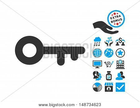 Key icon with bonus icon set. Vector illustration style is flat iconic bicolor symbols, blue and gray colors, white background.