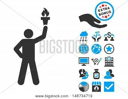 Leader With Freedom Torch icon with bonus symbols. Vector illustration style is flat iconic bicolor symbols, blue and gray colors, white background.