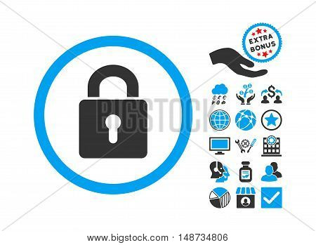 Lock Keyhole pictograph with bonus symbols. Vector illustration style is flat iconic bicolor symbols, blue and gray colors, white background.