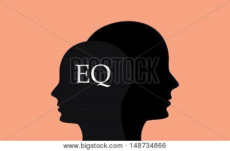 eq emotional question with sillhouette human brain head with orange background