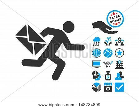 Mail Courier pictograph with bonus icon set. Vector illustration style is flat iconic bicolor symbols, blue and gray colors, white background.