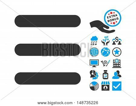 Menu Items pictograph with bonus clip art. Vector illustration style is flat iconic bicolor symbols, blue and gray colors, white background.