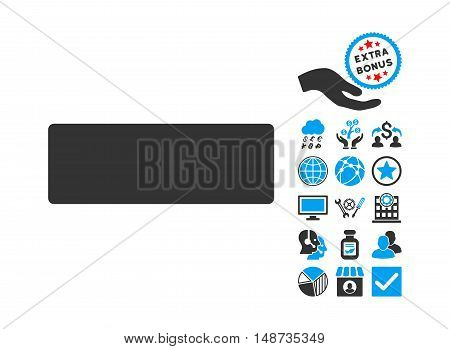 Minus icon with bonus symbols. Vector illustration style is flat iconic bicolor symbols, blue and gray colors, white background.