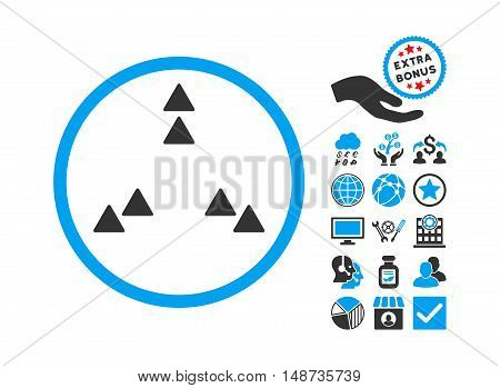 Move Out icon with bonus pictures. Vector illustration style is flat iconic bicolor symbols, blue and gray colors, white background.